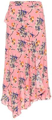 Etro Asymmetric floral crepe midi skirt