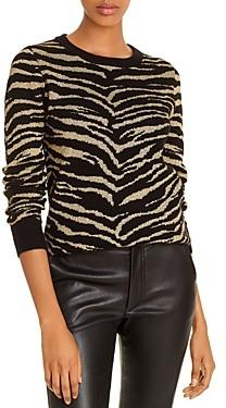 Madeleine Thompson Cashmere Metallic Zebra Sweater