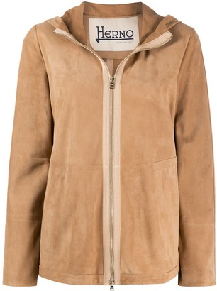 Herno Hooded Leather Jacket