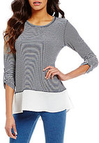 Multiples Roll-Tab Sleeve High-Low Knit Top