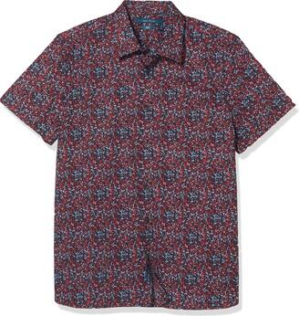 Perry Ellis Men's Big & Tall Slim Fit Mini Floral Print Stretch Short Sleeve Button-Down Shirt