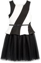 Sean John Mesh Peplum Dress, Big Girls (7-16)