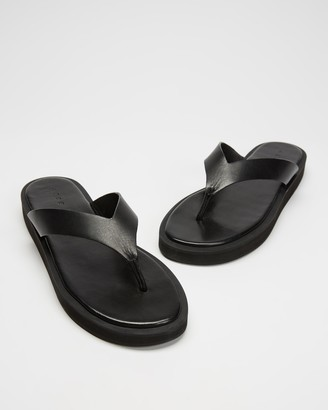 AERE - Women's Black All thongs - Midform Leather Thong Sandals - Size 5 at The Iconic