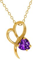 Gem Stone King 0.74 Ct Heart Shape Amethyst 18k Yellow Gold Pendant