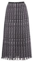 Giamba Printed Pleated Silk Midi Skirt
