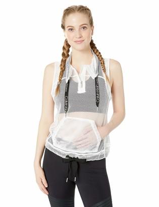 Calvin Klein Women's Mesh 1/2 Zip Pullover Vest with Logo Drawcords