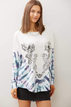 Free People Heart In A Rose Tie Dye Tunic Tee White XS