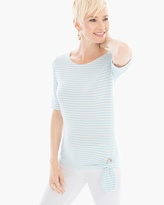 Chico's Striped Grommet Side-Tie Tee