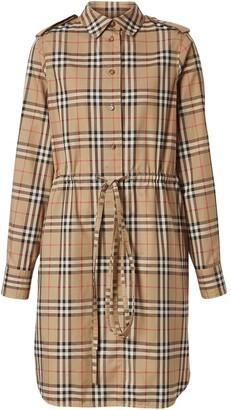 Burberry vintage check drawcord shirt dress
