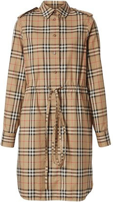 Burberry Vintage Check Drawcord Shirt Dress