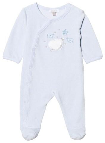 Absorba Pale Blue Velour Sheep Babygrow