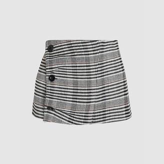 Jil Sander Grey Checkered Button Detail Wool-Blend Waist Belt DE 42