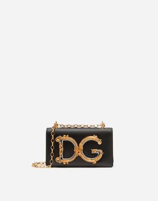 Dolce & Gabbana Girls Phone Bag In Plain Calfskin