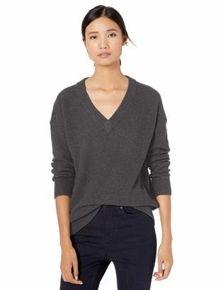 Goodthreads Amazon Brand Women's Wool Blend Thermal Stitch V-Neck Sweater