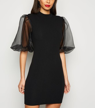 New Look AX Paris Organza Puff Sleeve Bodycon Dress