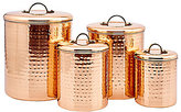 Old Dutch 4-Piece Decor Copper Hammered Canister Set