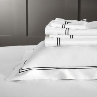The White Company Symons Cord Flat Sheet, White/Black, King