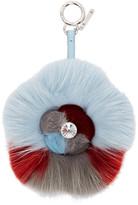 Fendi Blue & Red Fur Crystal Flower Keychain