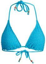 Ralph Lauren Ruffled Triangle Bikini Top Turq M