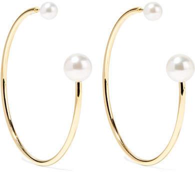 Sophie Bille Brahe Bouclé Kelly 14-karat Gold Pearl Hoop Earrings