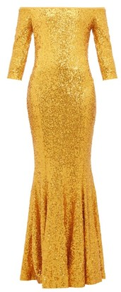 Norma Kamali Mermaid-hem Off-the-shoulder Sequinned Dress - Gold