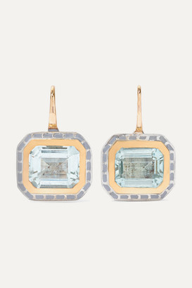 Alice Cicolini Silver Tile 22-karat Gold, Sterling Silver, Enamel And Aquamarine Earrings - one size