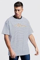 boohoo Mens Navy Oversized Stripe MAN Embroidered T-Shirt, Navy