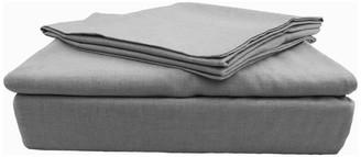 Natural Comfort Yue Home Textile Solid Linen Cotton Sheet Set, Grey, Queen