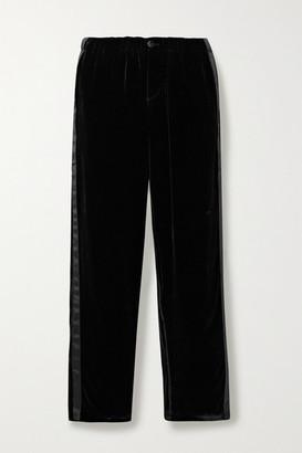 Sleepy Jones Marina Atleisure Grosgrain-trimmed Velvet Pajama Pants - Black