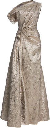 Lela Rose Asymmetric Metallic Jacquard Gown