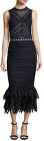 Jonathan Simkhai Lattice Embroidered Organza Mermaid Dress, Navy/Black
