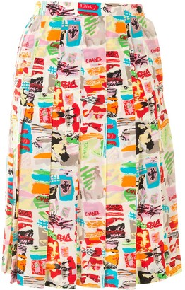 Chanel Pre Owned 1997 Abstract Print Pleated Skirt