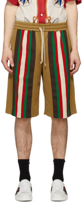 Gucci Tan Jersey Stripe Shorts