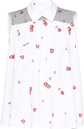 Miu Miu Floral-Embroidered Sleeveless Blouse