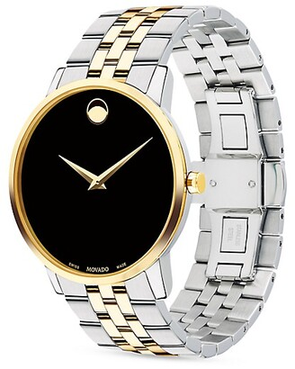 Movado Museum Black Dial Two-Tone PVD Stainless Steel Bracelet Watch