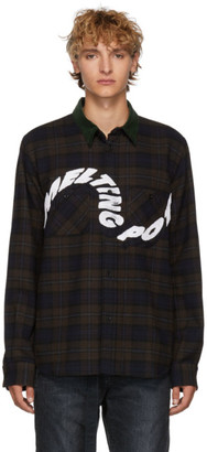 Sacai Brown and Navy Check Wool Embroidered Shirt