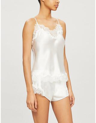 Selfridges Scarlett floral lace-trim satin-silk camisole
