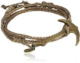 """M.Cohen Handmade Designs Men's Multi-Wrap with Brass Anchor on Wax Cord, 23"""""""