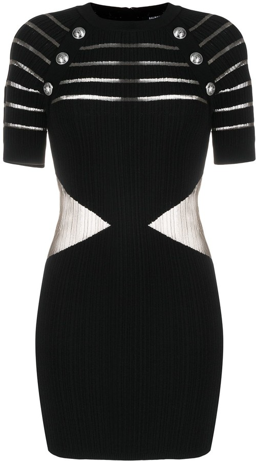 Balmain Sheer-Panel Decorative-Button Dress