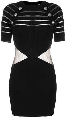 Balmain Sheer-Panel Decorative-Button Dress
