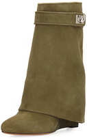Givenchy Suede Shark-Lock Fold-Over Boot