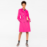 Paul Smith Women's Pink Cotton-Twill Trench Coat With Camel Contrasts