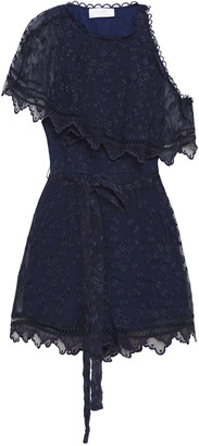 Zimmermann Belted Draped Embroidered Silk-crepon Playsuit