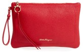 Salvatore Ferragamo Pebbled Leather Wristlet Clutch - Red