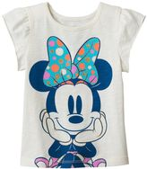 Disney Disney's Minnie Mouse Toddler Girl Flutter Short Sleeve Glitter Graphic Tee