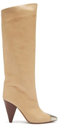 Isabel Marant Lelize Metallic-toecap Leather Knee-high Boots - Light Tan