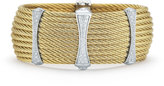 Alor 10-Row Cable Cuff Bracelet w/ Pave Diamond Stations, Yellow