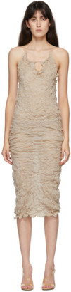 Gauntlett Cheng SSENSE Exclusive Beige Elasticated Wool Keyhole Dress