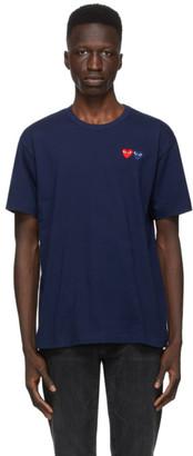 Comme des Garcons Navy Double Heart T-Shirt