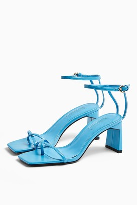 Topshop Womens Nature Blue Strappy Block Heels - Blue